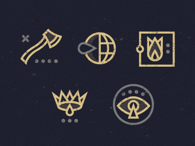 Crypticons coordinates axe globe fire crown eye key icon symbol flower tear gold