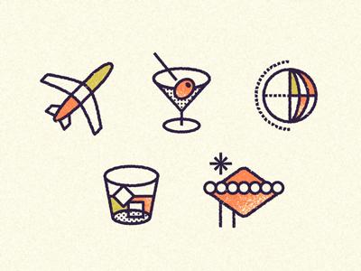 Travel icons travel martini plane globe whiskey vegas