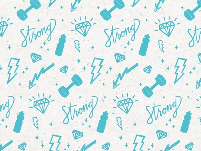 Strong Pattern handlettered bolt lightening diamond waterbottle workout habits strong build fitness