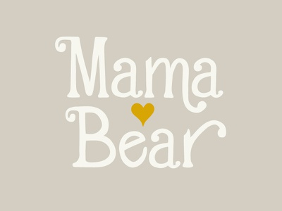 Mama Bear 70s heart swash bear mama handletter