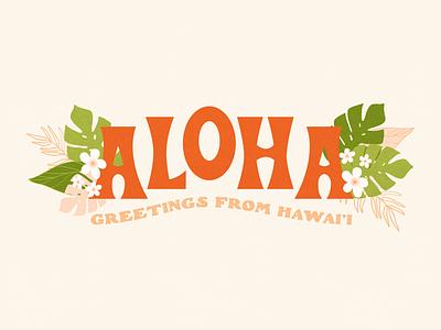 Aloha monstera floral beale font hawaii aloha