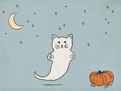 Happy Halloween illustration moon pumpkin halloween ghost cat kitty