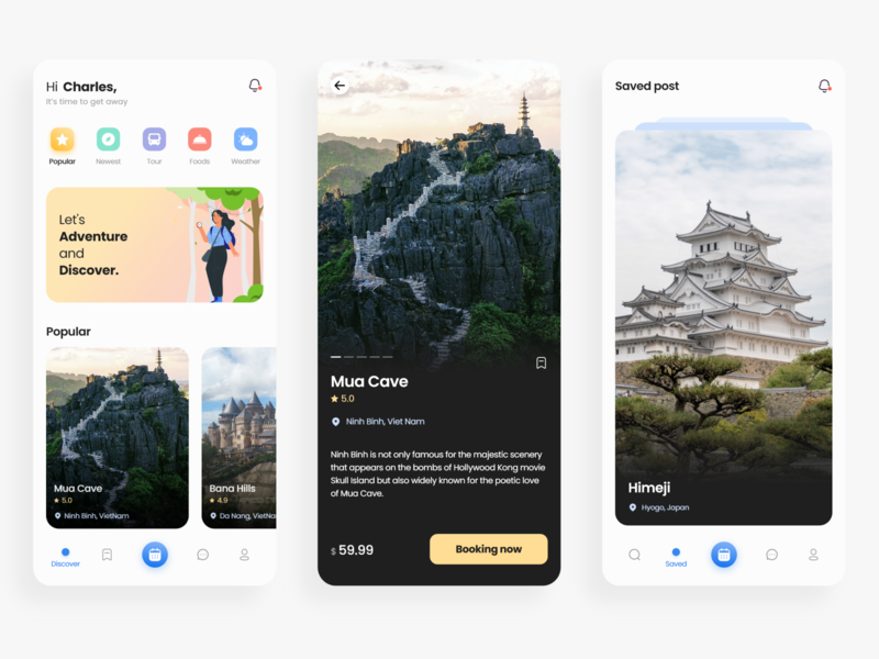 Travel Service - App Design gradient color travel app android ios traveling travel design app illustration vector ux ui