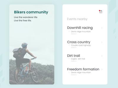 bikers community mobile ui