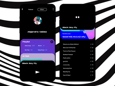 spotify product mobile interaction design grid concept app ios ux ui