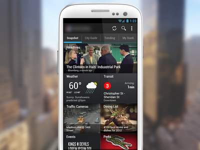 Dashboard - City Guide App dashboard android app widgets city guide interface ui