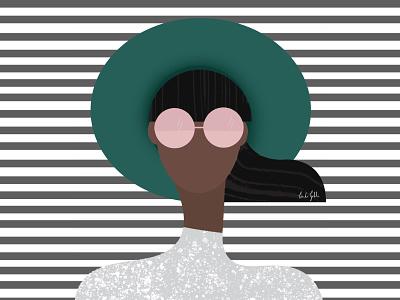 Girl in a hat linda gobeta pattern illustrator adobe adobesketch drawing streetstyle fashionillustration fashion wall art poster vector graphical illustration