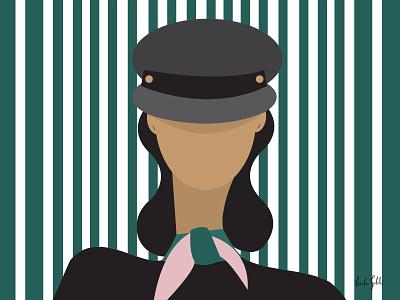 Girl in a hat illustration linda gobeta hats hat fashionillustration streetstyle adobe pattern geometric illustration fashion wall art graphic design vector graphical illustration