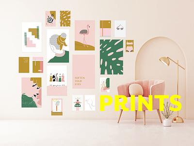 Linda Gobeta poster set emerald green mustard yellow mustard graphical design typography linda gobeta fashion poster wall art graphic design illustration