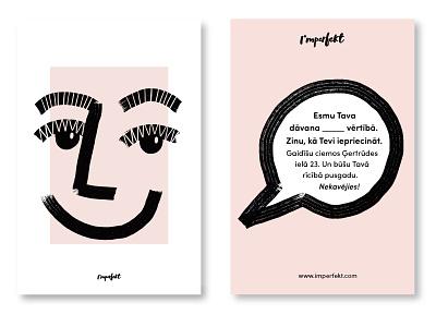 Gift card design | I'mperfekt linda gobeta whimsical character imperfect card design gift card quirky typography fashion graphic design design graphical illustration