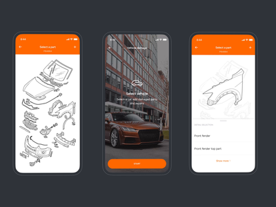Soglasie insurance app: Parts pick out clean digital app design minimal car insurance product design mobile animation ux ui