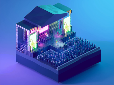 Low Poly Worlds: Legendary Concert illustration art lowpolygon gaming world concert animation lowpoly3d lowpolyart blender3d darkfejzr polyperfect 3d color lowpoly illustration