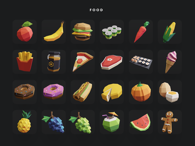 Low Poly Icon Pack: Food apple icon lowpolyart lowpolygon donut food design polyperfect illustration pack kit icons lowpoly