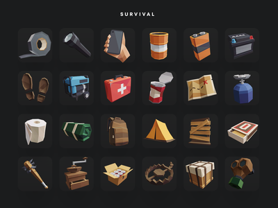 Low Poly Icon Pack: Survival kit icons icon ui lowpolyart lowpoly3d polygon blender3d darkfejzr polyperfect color game lowpoly illustration 3d
