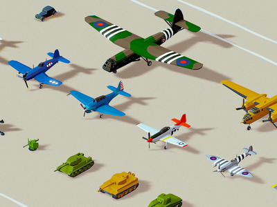 Low Poly War Pack 3:0 isometric planes color assets models polyperfect ww2 war illustration 3d game lowpoly