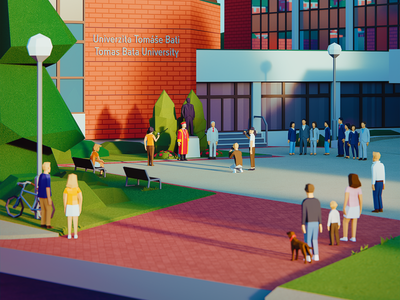 WE ARE TWENTY: Inauguration polygon scene interactive poster color 3d animation university zlin lowpoly ar illustration