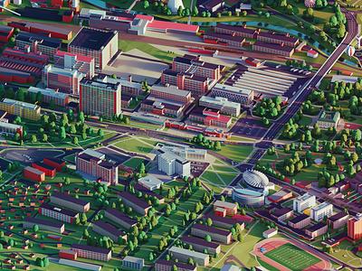 WE ARE TWENTY: University in Zlin polygon university city zlin ar poster animation color lowpoly illustration darkfejzr 3d