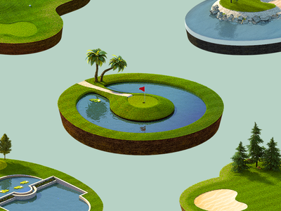 Golf Course Icons madeo darkfejzr blender 3d ios identity game set course icon golf