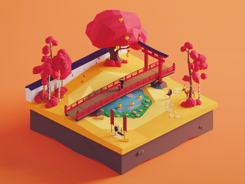 Low Poly Worlds: Lake of Lovers assets gaming game story environment japan nature polyperfect unity3d darkfejzr color 3d lowpoly illustration
