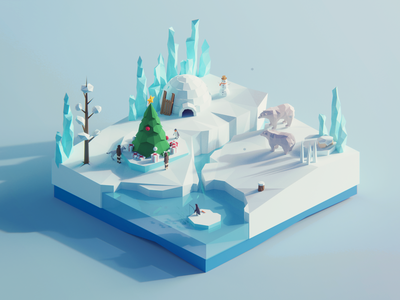 Low Poly Worlds: North Pole christmas ice winter pole nort nature polygon assets unity3d blender3d polyperfect darkfejzr 3d color lowpoly illustration