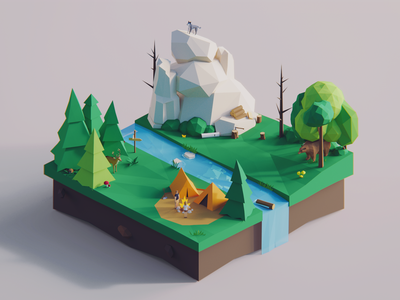 Low Poly Words: Forest game story environment nature unity3d blender3d polyperfect darkfejzr color 3d lowpoly illustration