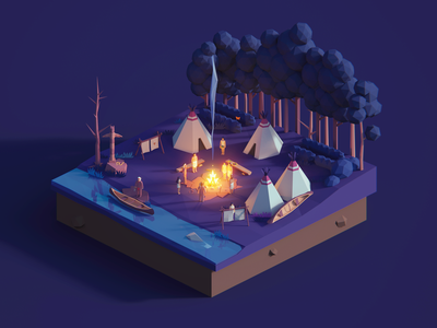 Low Poly Worlds: American Natives art gaming game story scene nature environment assets unity3d blender3d polyperfect darkfejzr 3d color lowpoly illustration