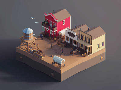 Low Poly Worlds: Wester Town story gaming game scene town western west wild blender3d unity3d darkfejzr color lowpoly illustration 3d