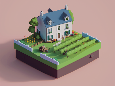 Low Poly Worlds: Vineyard art environment vineyard gaming story scene blender3d unity3d polyperfect darkfejzr color game lowpoly illustration 3d