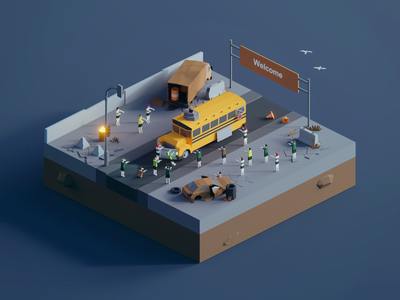 Low Poly Worlds: Zombie Apocalypse bus apocalypse story zombie environment polyperfect gaming unity3d darkfejzr color game lowpoly illustration 3d