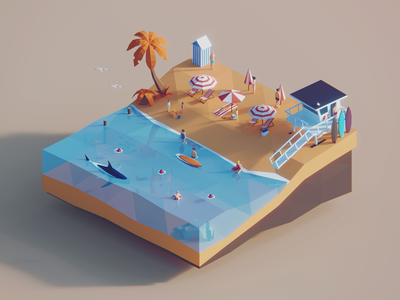 Low Poly Worlds: Baywach environment sea summer beach baywatch gaming story blender3d unity3d darkfejzr color game lowpoly illustration 3d