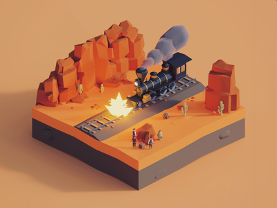 Low Poly Worlds: Train Robbery western west wild train art environmet story polyperfect blender3d gaming unity3d color darkfejzr game lowpoly illustration 3d