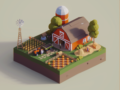 Low Poly Worlds: Farm poly low polygon environment farmer farm story unity3d blender3d polyperfect color darkfejzr game lowpoly illustration 3d