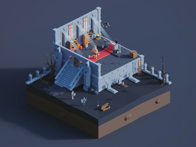 Low Poly Worlds: Dungeon graveyard dungeon art environment story polyperfect darkfejzr blender3d unity3d color game lowpoly illustration 3d