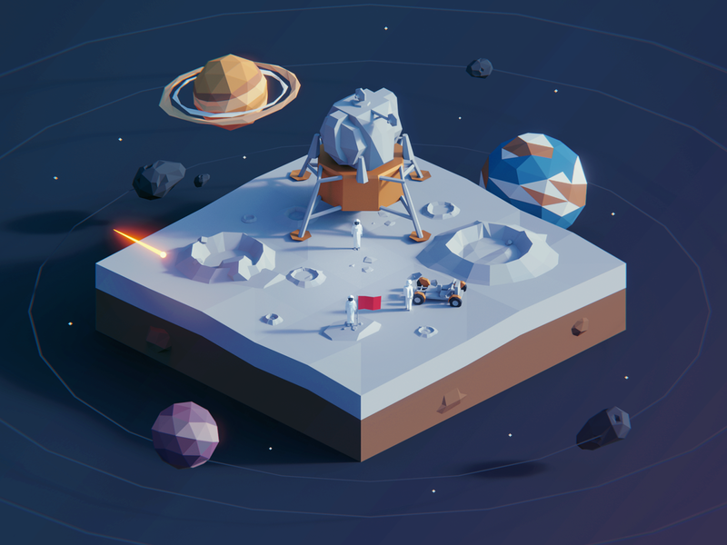 Low Poly Worlds: Space earth moon space polygon environment polyperfect gaming blender3d unity3d color game lowpoly illustration darkfejzr 3d