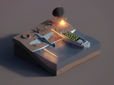 Low Poly Worlds: Battlefield battlefield war environement gaming illustration polygon polyperfect blender3d unity3d darkfejzr color game lowpoly low