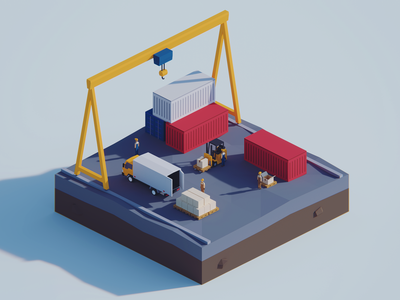 Low Poly Worlds: Cargo Docks delivery shipping cargo dock polygon polyperfect illustration darkfejzr 3d blender3d unity3d color game lowpoly
