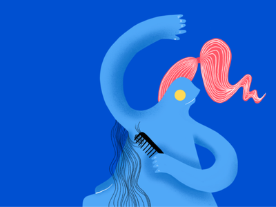 That awkward moment branding visual ui ux character design character drawing procreate print web design illustraion color palette colorful hair girl brand art