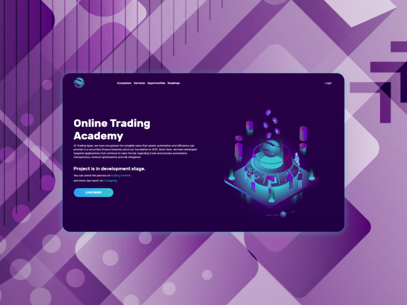 Online trading academy landing page minimal vector website flat web design ui