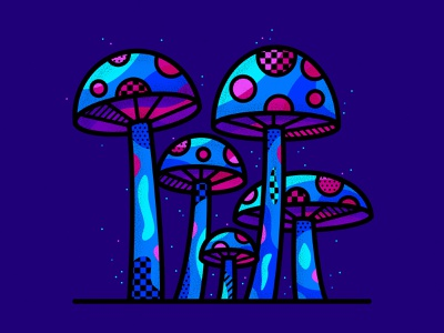 Neon Mushrooms neon mushrooms geometric patterns pop art illustration vector