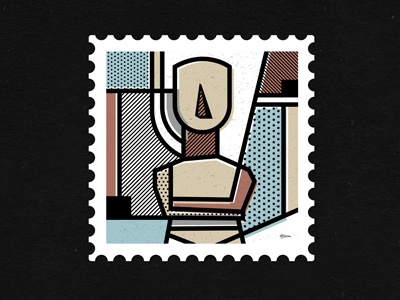 Destination: Greece: Statue de stijl pop art ancient statue patterns vector abstract travel greece stamps