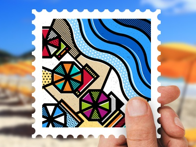 Destination Greece: The Beach de stijl pop art illustration vector travel geometrical abstract sea umbrellas beach stamps greece