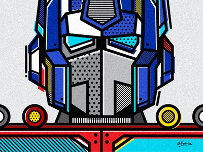 Optimus Prime pop art optimus prime abstract patterns geometric vector illustration robot transformers