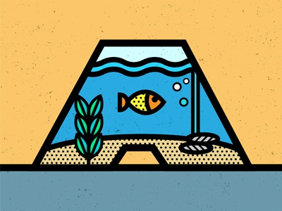 A is for Aquarium pop art illustration aquarium typography geometric vector