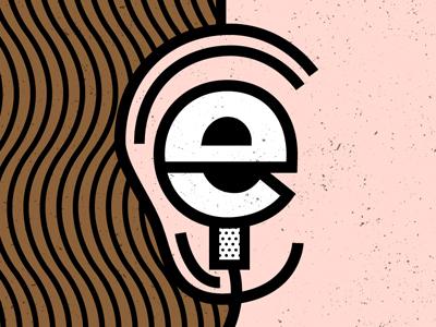 E is for Earphones pop art pattern typography earphones ear vector illustration geometric