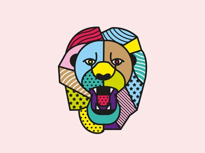 Lion pop art vector patterns lion illustration geometric fashion animal