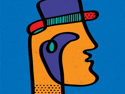 One-line abstracts: The Man in the Hat pop art one line vector patterns illustration hat abstract man