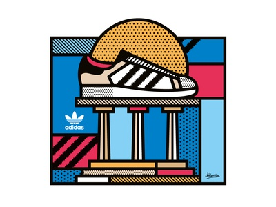 Adidas Originals Sticker illustration stripes greece sticker patterns pop art geometric sun athens originals adidas vector