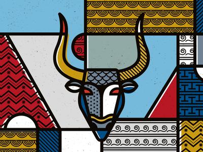 Minotaur de stijl geometric abstract patterns illustration pop art vector ancient greece