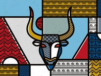 Minotaur de stijl geometric abstract patterns illustration pop art vector ancient greece