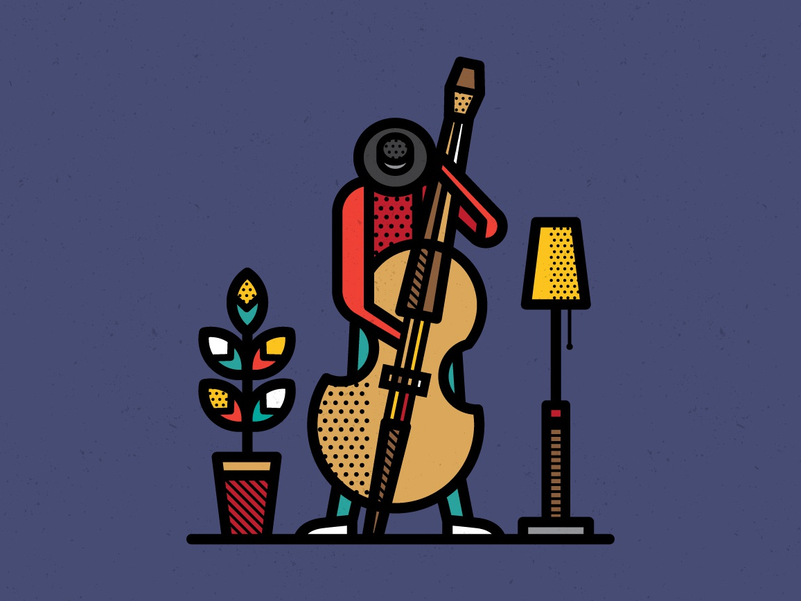 Jazz hat contrabass music jazz de stijl geometric patterns pop art illustration vector